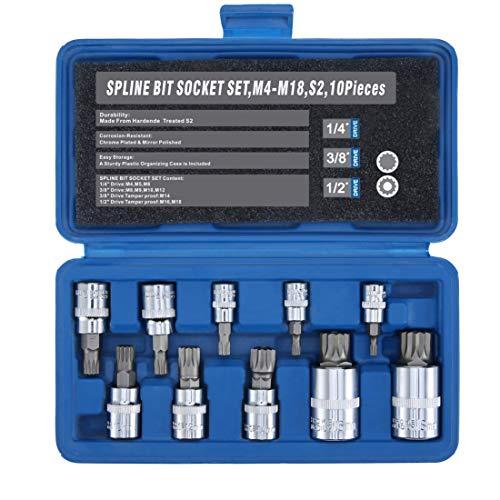 Triple Square Spline Bit Socket Set XZNTamper Proof12 38 14 DriveM4 - M18S2 Steel10 Pieces
