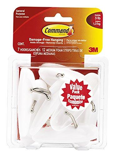 Command Wire Hooks Value Pack Medium White 7-Hooks 17068-7ES