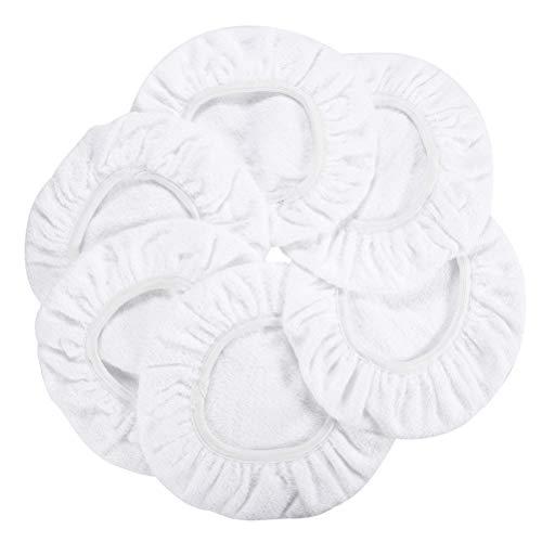 AUTDER Car Polisher Pad Bonnet - Cotton Polishing Bonnet Buffing Pad Cover - for 5 to 6 Car Polisher Pack of 6Pcs - White