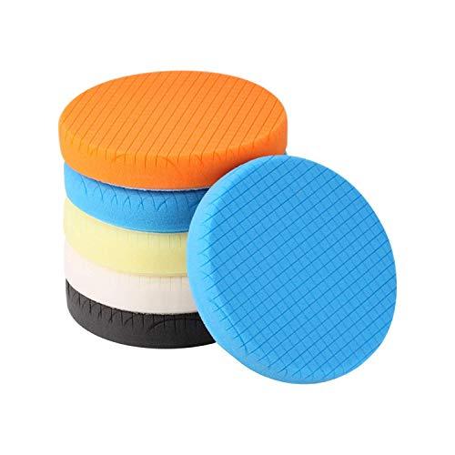 SPTA 5Pcs 55 Face for 5 Backing Plate Compound Buffing Sponge Pads Polishing Pads Kit Buffing Pad for Car Buffer Polisher SandingPolishingWaxing