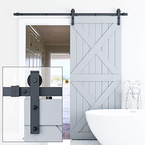 Genius Iron 66FT Single Barn Door Hardware Classic Design Standard Track with Upgraded Nylon Bearings for 36in-40in Wide Sliding Door Panel Easy InstallationBasic J
