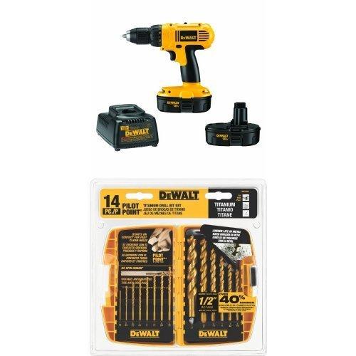 DEWALT DC970K-2 18-Volt Compact DrillDriver Kit w DW1354 14-Piece Titanium Drill Bit Set