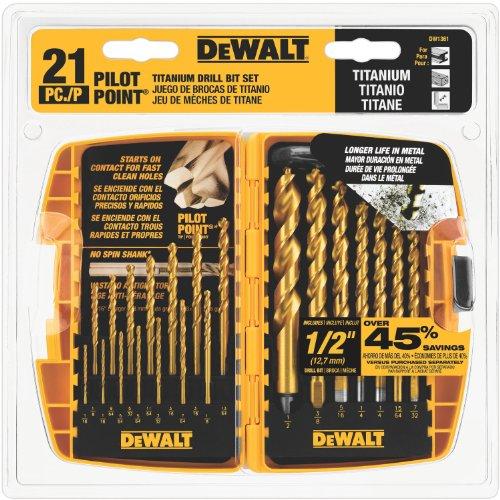 DEWALT DW1361 Titanium Pilot Point Drill Bit Set 21-Piece