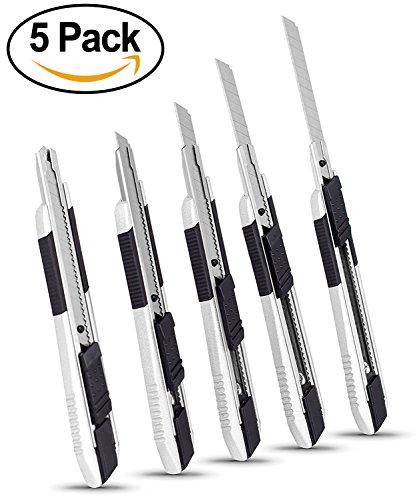 Internets Best Snap-Off Utility Knife  Small  Set of 5  Belt Clip  Retractable Razor Knife Set  Box Cutter Locking Razor Knife