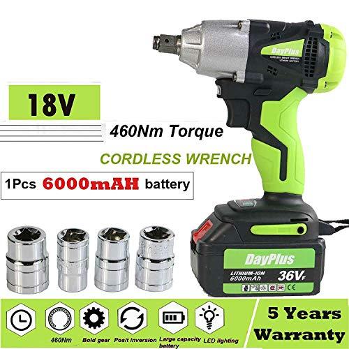 Impact Gun Huge Torque 460Nm Impact Driver Tool Ratchet Rattle Nut Electric Cordless 18V Impact Wrench with 4x ½ Inch sockets1Pcs 6000mAh Li-Ion Battery