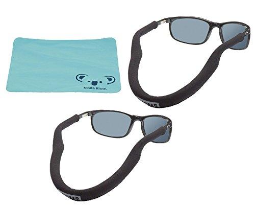 Koala Lifestyle Chums Floating Neoprene Eyewear Retainer Sunglass Strap  Eyeglass Glasses Float  Water Sports Holder Keeper Lanyard  2pk Bundle  Cloth Black
