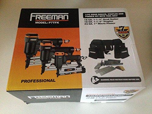 Freeman Professional 3-Piece Trim Finish Combo Kit with Tool Belt Brad Nailer Stapler Pinner Model P7TFK
