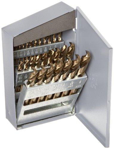 Chicago Latrobe 559 Series Cobalt Steel Short Length Drill Bit Set In Metal Case Gold Oxide Finish 135 Degree Split Point Inch 29-piece 116 - 12 in 164 increments