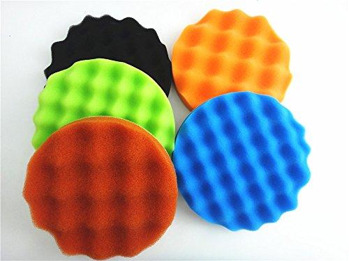 SHINA 5Pcs 7 inch Waffle Buffing Polishing Sponge Pads Kit For Car Polisher Buffer