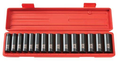 TEKTON 12 Inch Drive Deep 6-Point Impact Socket Set 15-Piece 10-24 mm  4883