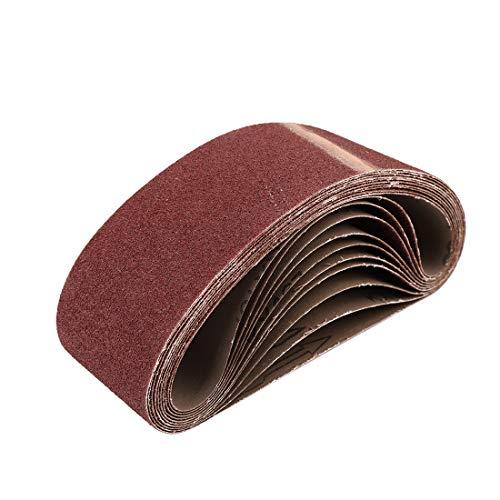 uxcell 3 x 21 Inch Sanding Belts 80 Grit Aluminum Oxide Sanding Belt Sandpaper for Portable Belt Sander 10 Pcs
