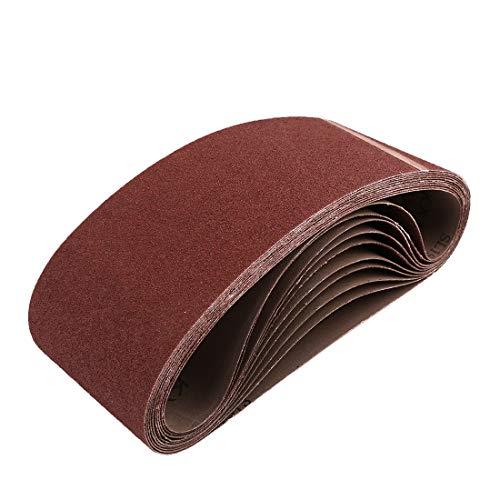 uxcell 4 x 24 Inch Sanding Belts 80 Grit Aluminum Oxide Sanding Belt Sandpaper for Portable Belt Sander 10 Pcs