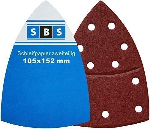 - 25 - 105 x 152 mm Grain 80 Piece SBS Klett-Schleifblätter for Multi Sanders Bosch Prio Ventaro by SBS - Schlößer Baustoffe