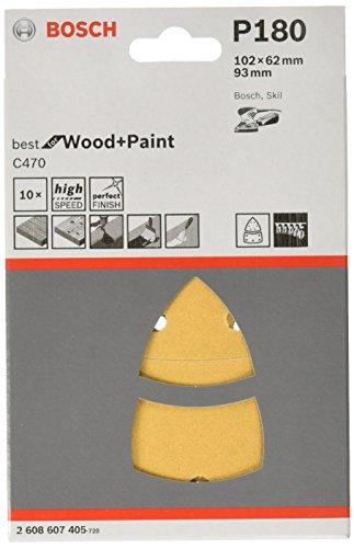 Bosch 2608607405 Sanding Sheets for Multi-Sanders Skil Best for Paint-102 x 62 x 93 mm 11 holes-180 grit Grey