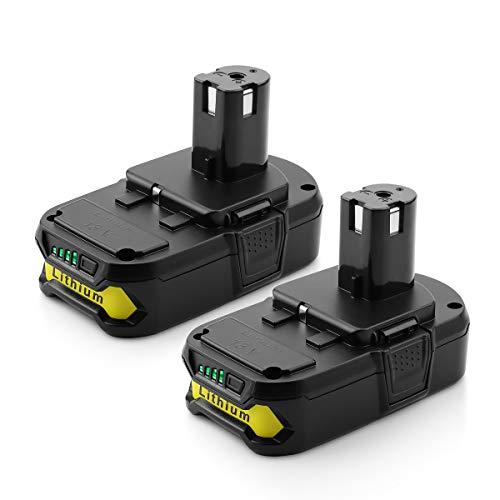 Energup Replacement 2500mAh P102 Ryobi 18V Lithium Battery for Ryobi 18-Volt ONE Battery P104 P105 P102 P103 P107 Cordless Tools Ryobi 18v Battery 2Pack