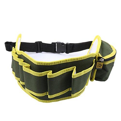 uxcell Electrician 8 Pocket Canvas Plier Scissor Electrical Work Tools Belt Organizer Holder Waist Bag Green