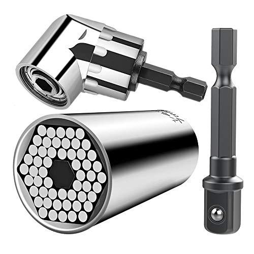 CIGOTU Universal Socket 7mm-19mm Multifunctional Cordless Ratchet Adapter Socket Wrench Set Impact Grade Driver Sockets Adapter Extension Set Screwdriver Set Hex Bit  105 Degree Right Angle Drill