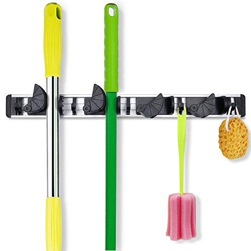 "Coolreallâ""¢ Broom Hanger Garage Organizer Mop Broom Holder Wall Mounted Rack Gardening Shed Tool Hook Garage Storage with 4 Positions 5 Hooks"