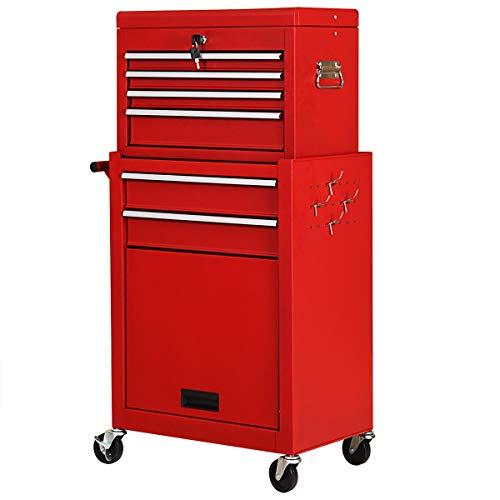 JF World Rolling Cabinet Storage Chest Box Garage Toolbox Organizer-Red