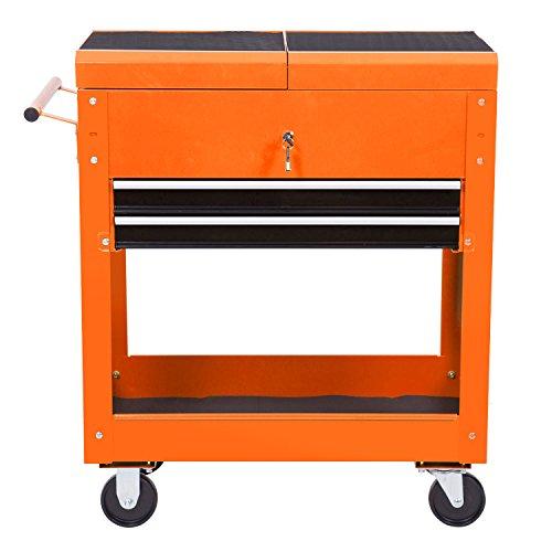merax 2 drawer tool cart rolling tool cabinet with slide handle orange