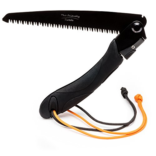 The Friendly Swede Folding Survival Outdoor Saw 8-Inch Blade Ergonomic TPR Handle Extra Paracord Added