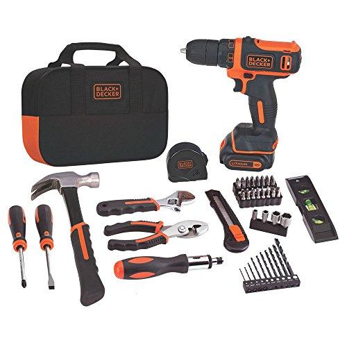 BLACKDECKER 12V MAX Drill Home Tool Kit 60-Piece BDCDD12PK