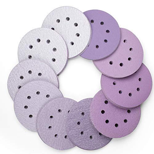 5 Inch 8 Hole Sanding Discs 100PCS 40 60 80 120 180 220 240 320 400 800 Grit Assorted Professional Sandpaper by LotFancy Hook and Loop Random Orbital Sander Round Sand Paper