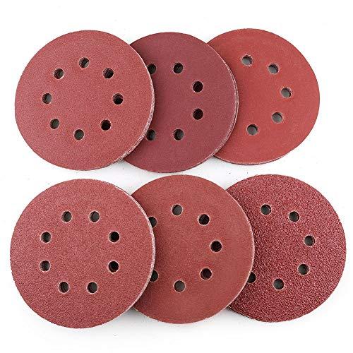 5 Inch 8-Hole Sanding Discs by LotFancy 60PCS 40 60 80 100 180 240 Grit Assorted Sandpaper Random Orbital Sander Hook and Loop Sand Paper