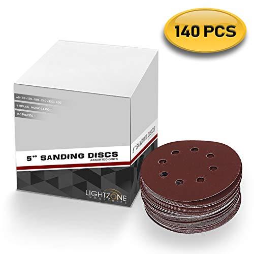 5 inch 8 Hole Sanding Discs Hook and Loop Assorted 140PCS Premium Abrasive Grits 6080120180240320400 for Random Orbital Sander Pad - by LIGHTZONE INDUSTRIES