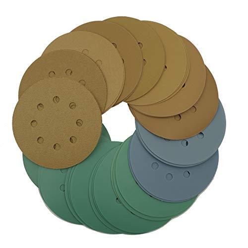 Tigershark 5 Inch 8 Hole Sanding Discs Grit 608010012015018022032040060080012001500200025003000 3pcs each Assorted Hook and Loop Random Orbital Sander Paper