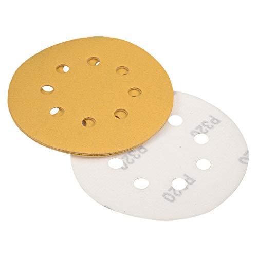 uxcell 5 inch 8 Holes Sanding Discs 320-Grits Hook and Loop Flocking Sandpaper Sand Paper for Orbital Sander 5pcs