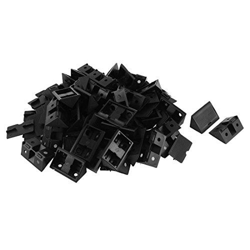 uxcell Furniture Cabinet Plastic Angle Bracket Fastener Black 50pcs