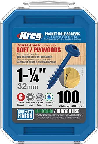 Kreg SML-C125B-100 Blue-Kote WR Pocket Screws - 1-14-Inch 100 pack