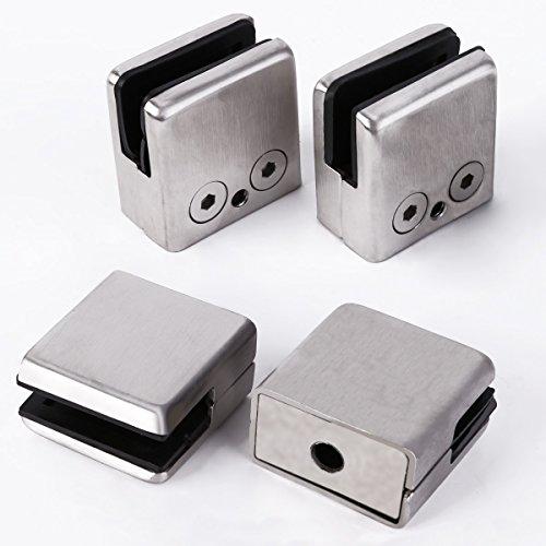 4x 304 Stainless Steel Square Clamp Holder Bracket Clip Glass Shelf Handrails 85-10mm Medium