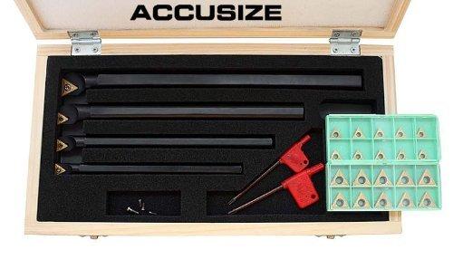 AccusizeTools - STUCR 31 PcsSet Indexable Boring Bar Set with 20 Pcs TCMT Inserts Right Hand P252-S412