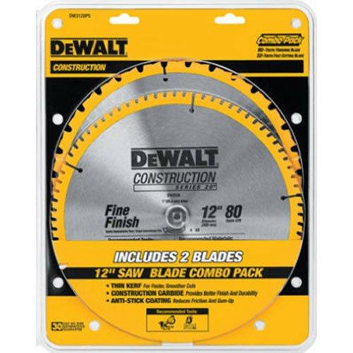 DEWALT 12-Inch Miter Saw Blade Crosscutting Tungsten Carbide 80-Tooth 2-Pack DW3128P5