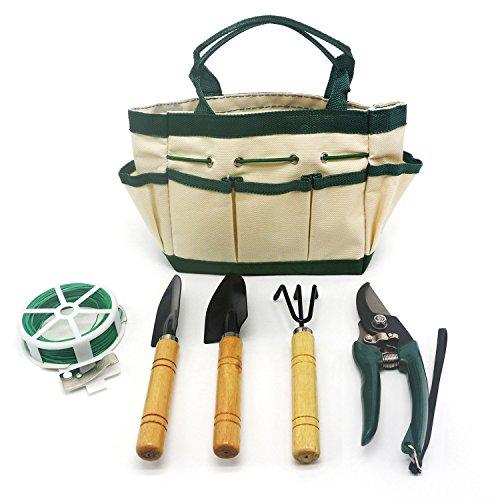 HOAEY 6 Pieces Garden Tools Set Ergonomic Gardening Tools Includes Digger Weeder Rake Trowel Bundler 30m Bundle Line  and Garden Tote Bag for Kids