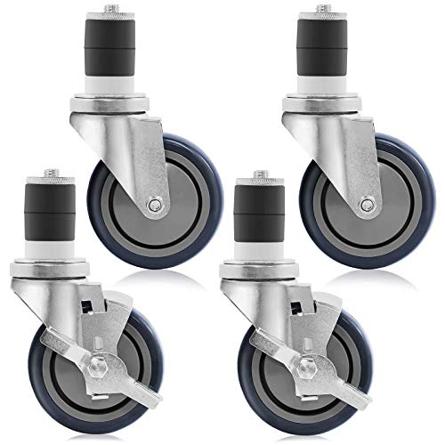 GRIDMANN 4 inch Caster Wheel Set for Commercial Kitchen Prep Tables 2 Wheels with Brakes 2 without Brakes