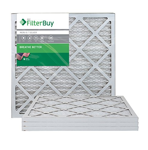 FilterBuy 20x20x1 Pleated HVAC AC Furnace Air Filter MERV 8 AFB Silver 4-Pack