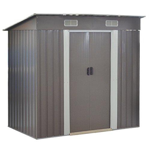 Goplus Garden Storage Shed Galvanized Steel Outdoor Heavy Duty Tool House wSliding Door 4 x 62 Ft Gray