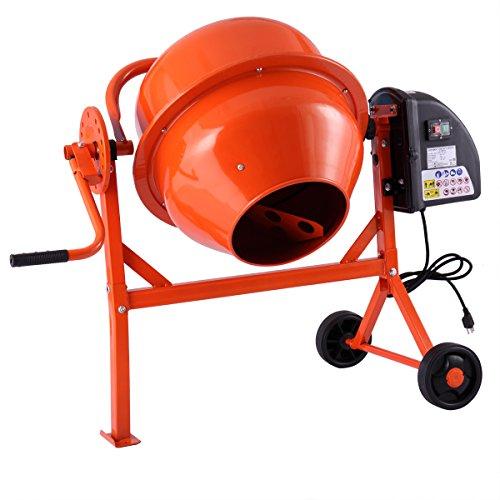 2-15cuft Concrete Mixer Cement Machine Electric Barrow Portable Heavy Duty