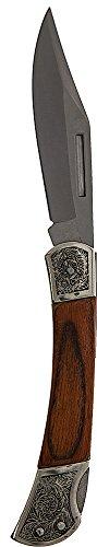 SE KFD687 Pocketknife325 Blade Paka Wood Handle with Decorated Bolsters Nylon Storage Pouch
