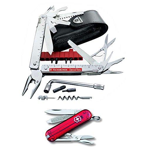 Victorinox Swiss Army SwissTool Swiss Army KnifePouch with Victorinox Swiss Army CLASSIC SD Trans Ruby Pocket Knife