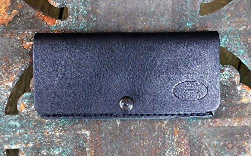Horizontal Leather Knife Sheath For Folding Bowie Black Leather Belt Loop Sheath