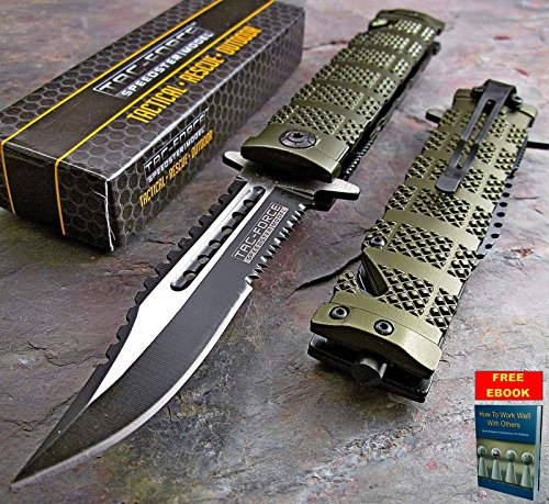 Pocket Knife Folding Tactical Rescue Knife Spring Assisted Open TAC FORCE GREEN Sawback Bowie TF-710GN  free eBook by Only US