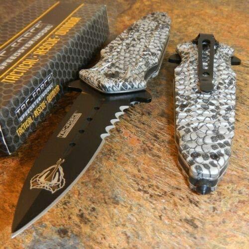 TAC FORCE Spring Assisted Silver COBRA SNAKE SKIN DAGGER Tactical Rescue Knife