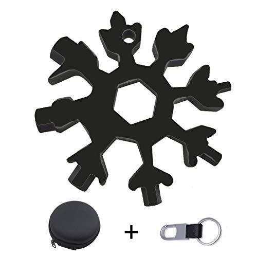 18-in-1 Snowflake Multi Tool Portable Stainless Steel Incredible Snow Multi-Tool Outdoor Travel EDC Key RingWrenchScrewdriverBottle OpenerRepair BikePocket SizeChristmas and Mens Gift