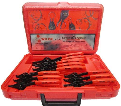 Wilde Tool 537 12-Piece Convertible Internal External Retaining Ring Pliers Set
