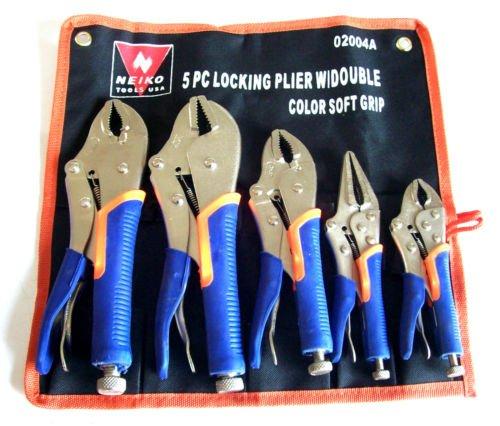 5pc Locking Plier Soft Grip w Vise Jaws Locking Adjustable Grips Tool Set Free shipping