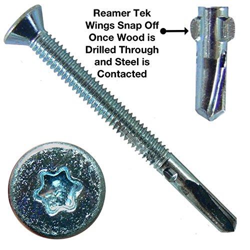 12x2-12 Reamer Tek TorxStar Head Self-Drilling Wood to Metal Screws - 1 Pound ~55 Tek Screws - Tek Screws for Flatbeds Trailers or where Fastening Wood to Steel - T-25 Torx Screw Head